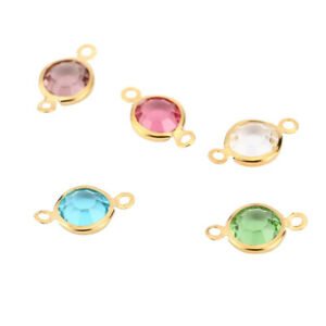 30pcs/lot Gold Stainless Steel Colorful Crystals Connectors for DIY Jewelry Make