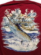 Guy Harvey Marlin Sword Fish Pocket Bluewater Red T Shirt Sz.M