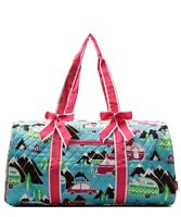 Quilted Duffle Bag NGIL Happy Camper Print 20' Carry on/Gym/Overnight Hot Pink