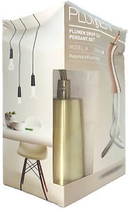 Plumen Drop Cap Pendant Set Model A E26 Indoor Hanging Light Bulb Fixture Brass