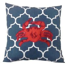 "SONOMA Life + Style PILLOW Size: 18 x 18"" New SHIP FREE Blue White Red Crab"