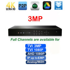 3MP TVI DVR 4CH All CH support 960H/TVI 3M or 1080P/AHD 1080P/IP  Up to 6MP