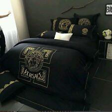 Versace Medusa Luxurious EMBROIDED Super Queen 4pcs Egyptian Cotton bedding Set