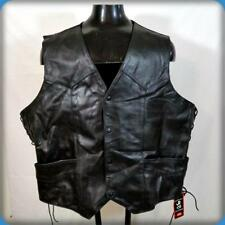 JR Vintage WESTERN MOTORCYCLE Leather VEST Mens 4XL 58 Black Laced