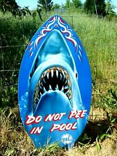 Wood Lizard Skim Board Shark No Peeing Do Not Pee in Pool Sign Beach Decor