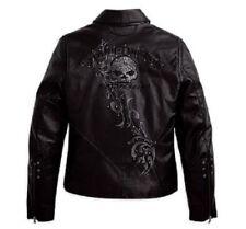Harley Davidson Women's WICKED Swarovski Skull Black Leather Jacket 97123-09VW M