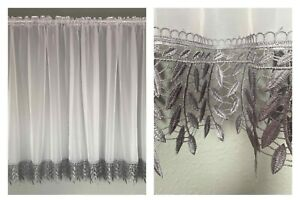 Beautiful White Voile Net Curtain with Grey Lace (Guipure )