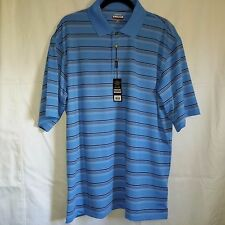 Shirt Kirkland XL Polo Rugby Sky Blue Stripe Wicking UV Protection Stretch