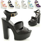 WOMENS CUT OUT CHUNKY SANDALS LADIES CLEATED HIGH HEEL PLATFORM SHOES SIZE 3-8