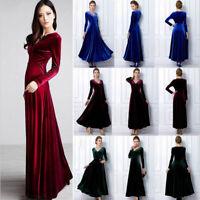 Women Lady V Neck Prom Dress Long Sleeve Velvet Formal Party Evening Maxi Dress