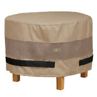 Duck Covers Elegant Round Patio Water Resisant Ottoman/Side Table Cover