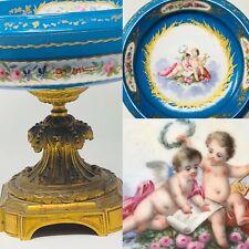 Cut Blue of Sèvres & Bronze Golden & Painting & Porcelain & XIX ° Th Century