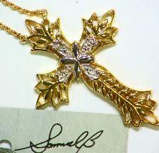 NEW BJC SAMUEL B BEHNAM DESIGNER STERLING SILVER DIAMOND CROSS NECKLACE 925