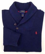 POLO Ralph LAUREN Boys SWEATER Cowl NECK Blue LARGE 14-16 Size JERSEY Cotton SZ*