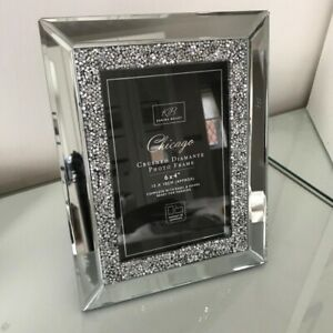 "New Glamorous Mirror Crushed Diamante Glass Mirrored Photo Frame 4"" x 6"" Gift"