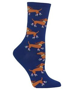 Hotsox Womens Doxie ROLLERSKATING WEINER DOG Socks 1 Pair Dachshunds NWT