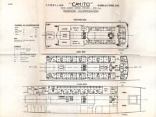 1950s-60s Fyffes Line CAMITO Banana Boat Deck Plans - NAUTIQUES sHiPs WORLDWIDE