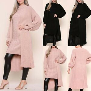 Womens Ladies Knitted Long Maxi High Neck Dress Open Cardigan 2 Pcs Co Ord Set