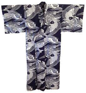"""Japanese Yukata Kimono Robe Men 64"""" XXL Navy Cotton Carp Koi Made in Japan"""