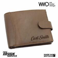 Personalised Laser Engraved Genuine Leather Black Wallet * Great Gift *