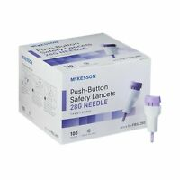 McKesson Push Button Safety Lancets 28 Gauge Sterile 100 Count 16-PBSL28G