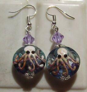 SEA LIFE OCTOPUS LAMPWORK GLASS EARRINGS