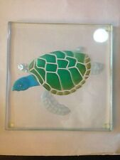 "JUAN VARGAS SEA TURTLE ETCHED GLASS 6"" SQUARE PLATE, SIGNED"