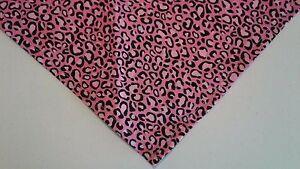 Buster Brown Dog Bandana, Animal Print, Pink, Custom Made by Linda, xS, M