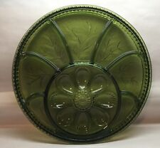 Vtg Indiana Glass Green Egg Plate Serving Relish Dish Glass Large Platter A9