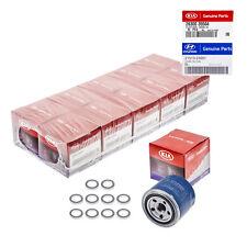 Set Of 10 OEM For Hyundai Oil Filter 26300-35504 and Plug Gasket 21513-23001