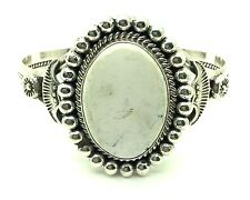 Navajo  Sterling Silver White Buffalo Turquoise Cuff Bracelet - Mary Ann Spencer