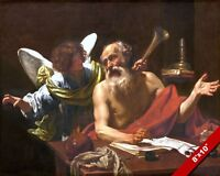 SAINT JEROME VISITED BY AN ANGEL PAINTING CHRISTIAN ART REAL CANVAS GICLEEPRINT