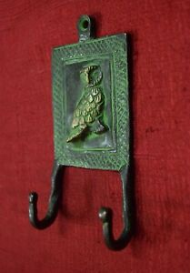 Owl Figurine Cloth Hanger Brass Handcraft Coat Hat Hook Home Wall hanging Decor