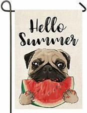 Hello Summer Dog Burlap Garden Flag, Double Sided Garden Outdoor Yard Flags