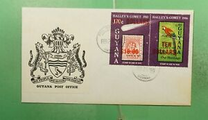 DR WHO 1989 GUYANA FDC SPACE HALLEYS COMET OVPT PAIR $10 g13424