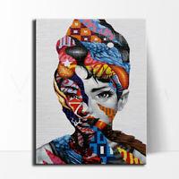 Banksy Framed Canvas Street graffiti art Print painting audrey hepburn new york
