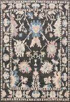 Geometric Floral Charcoal Oushak Turkish Area Rug Vegetable Dye Hand-knotted 8x9