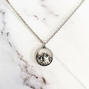 Silver Nature Mountains Necklace Range Hikers Vintage Travel 'Let's Get Lost'