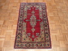 2'10 X 5 Hand Knotted Red Antique Fine Kerman Oriental Rug G1855