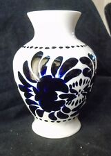 Large Oldcourt Ware Hand Painted Blue and White Vase