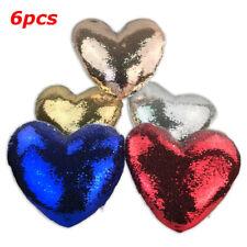 6pcs Sublimation Blank Pillow Case Heart Shape Covers Reversible Sequin DIY