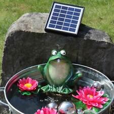 Wasserspeier Frosch dunkelgrün aus  Keramik mit Solarpumpe Teichdeko Garten