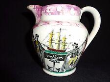 Antique Nautical Theme Verse & Transferware Pink Luster Creamer/Pitcher Jug