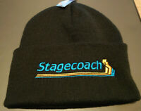 STAGECOACH STRIPES EMBROIDERED BEANIE HAT CUFFED NEW BLACK BUS