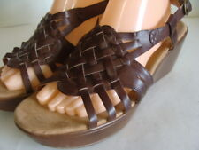 5e479f821b2 YUU DORA WOMENS 11 M Brown Woven Strappy Buckle Slingback Open Toe Wedge  Sandals