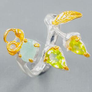 Gemstone fine Art Peridot Ring Silver 925 Sterling  Size 7.5 /R171750