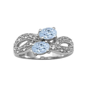Cluster Dual Stone 6X4 MM Oval Aquamarine 925 Sterling Silver Women Ring