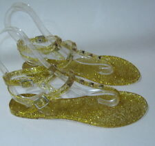 new ladies Gold Summer Beach Retro Ankle Strap Jellies Jelly Sandal Size 6