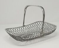Vintage ART DECO Silver Plated Fruit Bowl Wire Bread or Fruit  Basket
