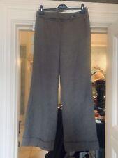 Liz Claiborne Brown Wool silk Wide Leg Turn Up trousers 10 Bnwt RRP £70 Tall